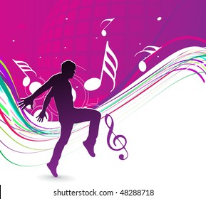 silhouetted a young man enjoy music with rainbow wave line, vector illustration