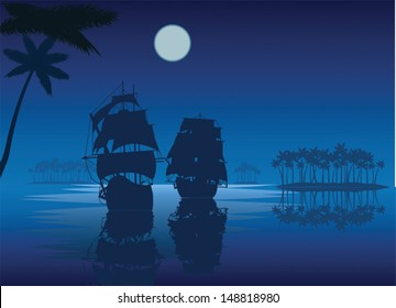 Silhouettes of 2 ancient ships at night in the sea on a dark blue background