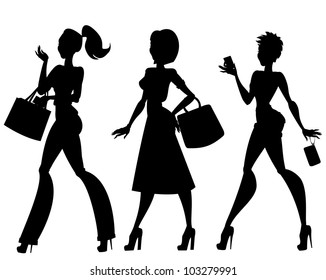 Silhouettes of 3 walking women with handbags, phone. Isolated
