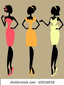 Silhouettes of 3 women, vintage fashion of 1950s, 1960s