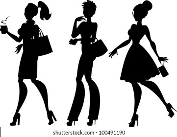 Silhouettes of 3 women: walking with coffee, thinking and going to the party, isolated