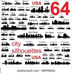 silhouettes of 64 cities in the United States, vector, all cities signed