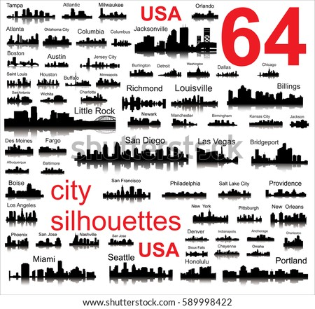 silhouettes of 64 cities