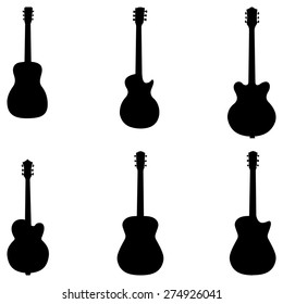 Silhouettes of acoustic guitars vector set