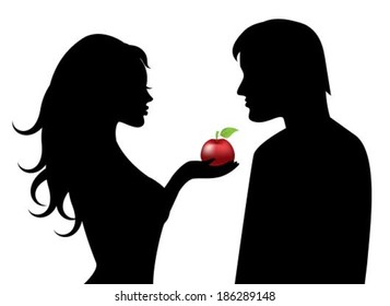 Silhouettes of Adam and Eve with the forbidden fruit in hand