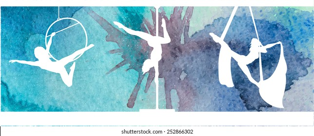 Silhouettes of aerial hoop and aerial silks performers and pole dancer on abstract natural grunge vector watercolor background. Aerialists. Air gymnastics. Gymnasts.