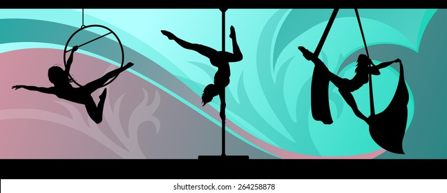Silhouettes of aerial hoop and aerial silks performers and pole dancer on abstract background. Aerialists. Air gymnastics. Gymnasts.