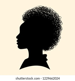 Silhouettes of African American. Woman profile. Vector Illustration