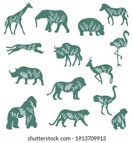 Silhouettes of African animals with decorative plants isolated on white background. Vector.