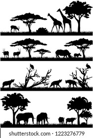 Silhouettes of african animals. savannah animals. Giraffe, hyena, elephant, bulls, vultures, antelopes. Silhouettes of African trees.