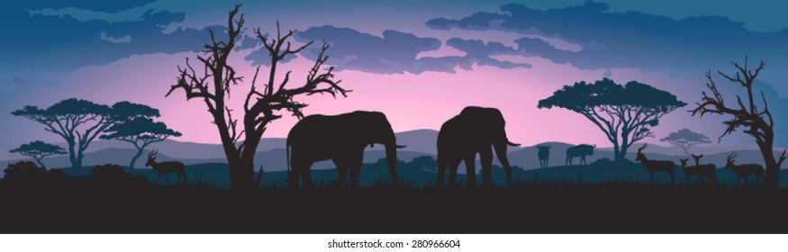 Silhouettes of african wild elephants and other animals at sunset or sunrise