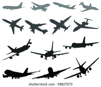 Silhouettes of aircraft 3- vector