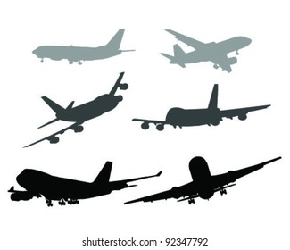 Silhouettes of aircraft- vector