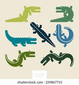silhouettes alligators