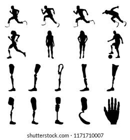 Silhouettes of amputee people with artificial limb. Silhouettes of prosthetic legs and arms. Vector.