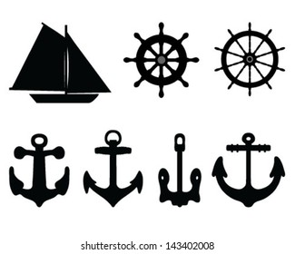 Silhouettes anchors, rudders and sailboat-vector