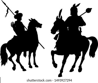 Silhouettes of ancient warriors on horseback. Vector illustration.