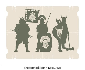 Silhouettes of ancient warriors, vector
