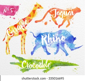 Silhouettes of animal giraffe, rhino, crocodile, cheetah drawing color paint on background of paper