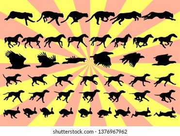 Silhouettes of animal movement in frames step by step for a cheetah, horse, eagle, dog, hare or rabbit.