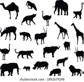 Silhouettes of animals of africa. African fauna.
