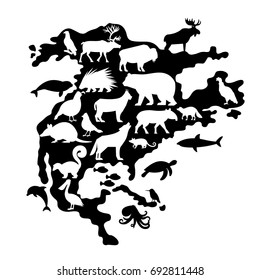 Silhouettes of Animals and Birds on North America Map