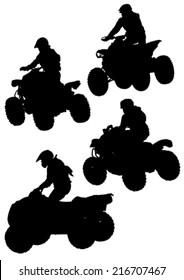 Silhouettes athletes ATV during races
