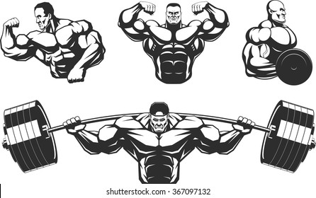 Silhouettes athletes bodybuilding