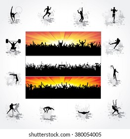 Silhouettes of athletes and posters of happy fans