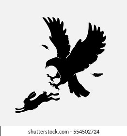 silhouettes of an attacking eagle on running hare