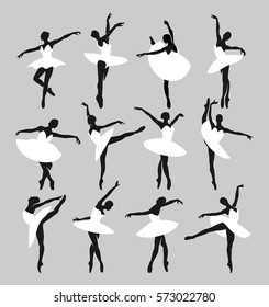 Silhouettes of ballerinas dancing the Swan Lake