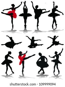 Silhouettes of ballerinas-vector