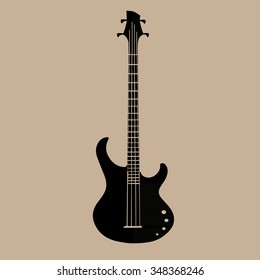 Silhouettes of bass guitars vector set. EPS 10