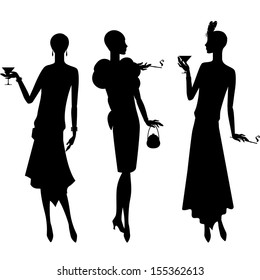 Silhouettes of beautiful girl of 1920s style.