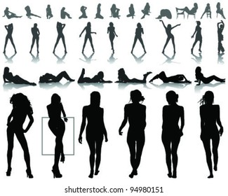 Silhouettes of beautiful  and sexy girls in various poses, vector