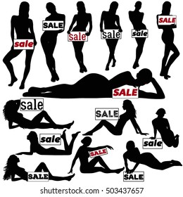 Silhouettes of beautiful slim woman standing, sitting and laying with sale lettering on board. Profile of sexy girl holding board with sale message.
