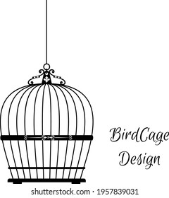 silhouettes of birdcages . black and white birdcage