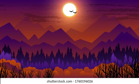 silhouettes of birds flying in a dark sky with the moon, over mountains, hills, coniferous forest, bushes and dry trees. Orange-purple natural landscape. vector