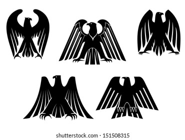 Silhouettes of black eagles for heraldry and tattoo design or idea of logo. Jpeg version also available in gallery
