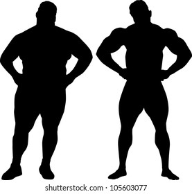 Silhouettes of bodybuilder and fat man