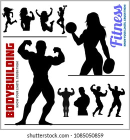 Silhouettes of Bodybuilders and Fitness Girls - Gym Vector Icon Set isolated on white