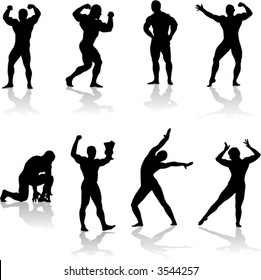 Silhouettes of bodybuilders (vector)
