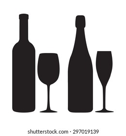 Silhouettes of bottles, glasses of wine and champagne. Vector icons.
