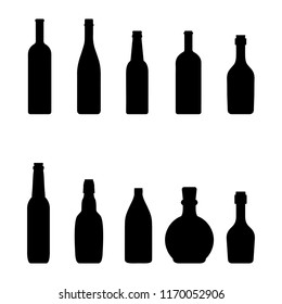 Silhouettes bottles of wine – stock vector