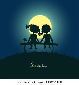 Silhouettes of a boy and a girl sitting in the moonlight on a bench. Design for card.