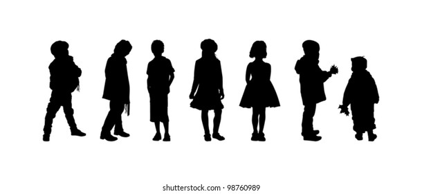 The silhouettes of boys and girls of preschool age