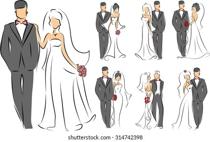 Silhouettes of bride and groom, background, wedding invitation, the vector