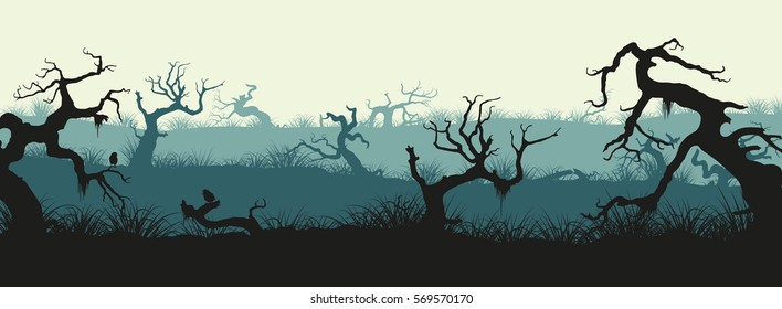 Silhouettes of broken trees and marsh grass. Swamp panorama. Horizontal image of old forest. Vector illustration