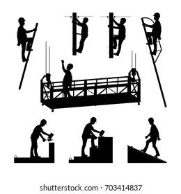 Silhouettes of builders. Brickwork. Mason bricklayer. High-altitude work. A molar, an electrician. Vector illustration.