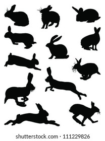 Silhouettes of bunny-vector